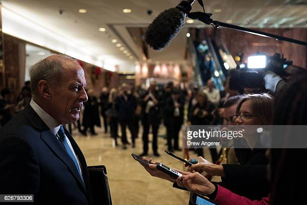 Sen Dan Coats speaks to reporters at Trump Tower November 30 2016 in New York City Presidentelect Donald Trump and his transition team are in the...