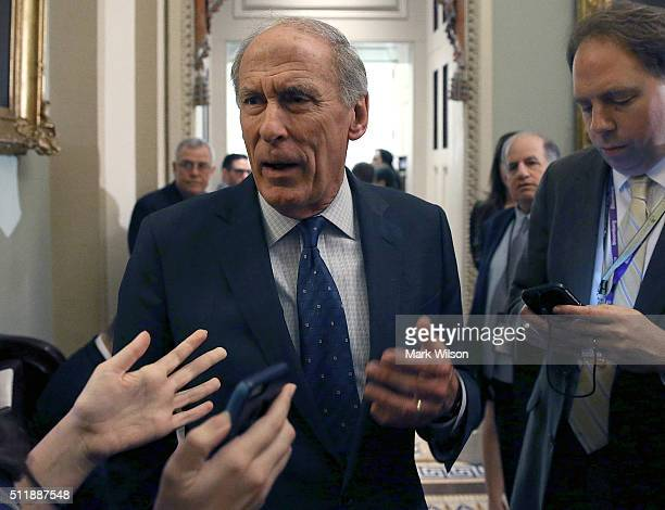 Sen Dan Coats speaks with reporters after attending the Senate Republican policy luncheon on Capitol Hill February 23 2016 in Washington DC Senate...