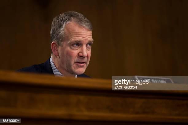 Sen Dan Sullivan speaks during a hearing to Senate Veterans' Affairs hearing to to examine David Shulkin's nomination to be Secretary of Veterans'...