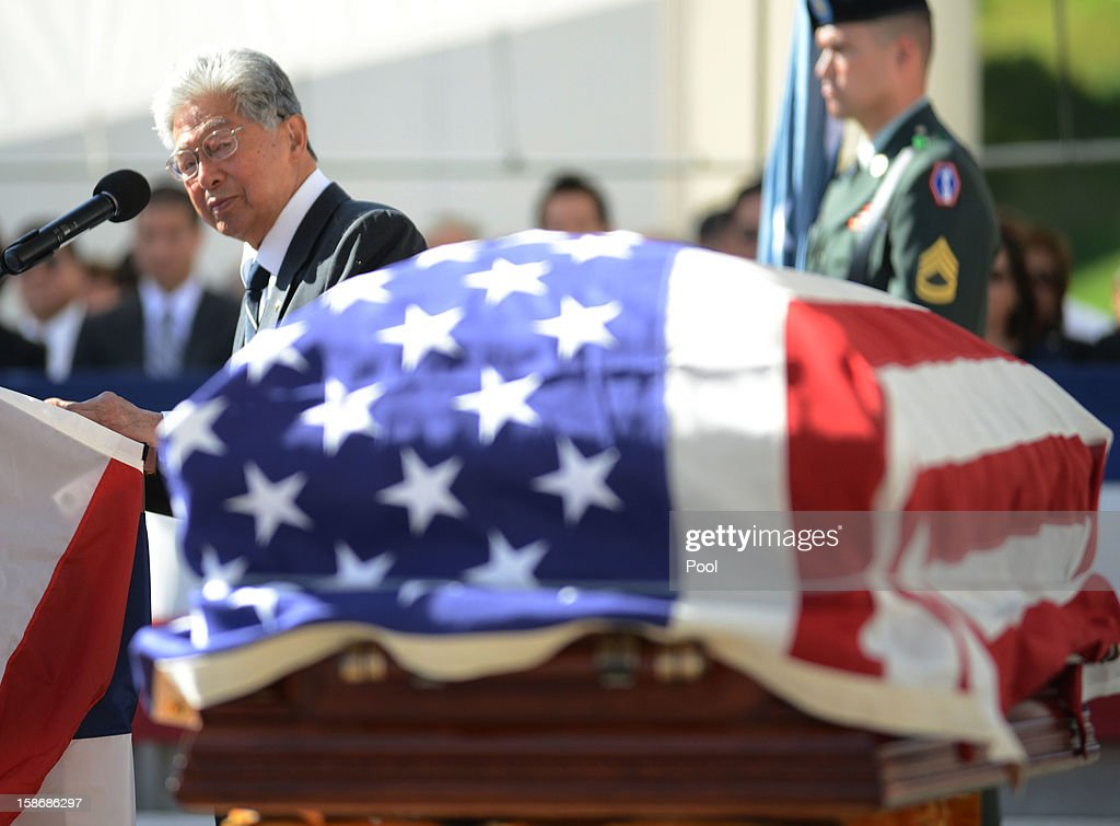 U.S. Sen. Daniel Akaka bids 'Aloha' during the funeral services for the late Senator Daniel Inouye at the National Memorial Cemetery of the Pacific December 23, 2012 in Honolulu, Hawaii. Senator Inouye was a Medal of Honor recipient and a United States Senator since 1963.