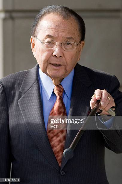 Sen Daniel Inouye leaves the federal court after appearing as a witness in the corruption case of Sen Ted Stevens on Thursday October 9 in Washington...