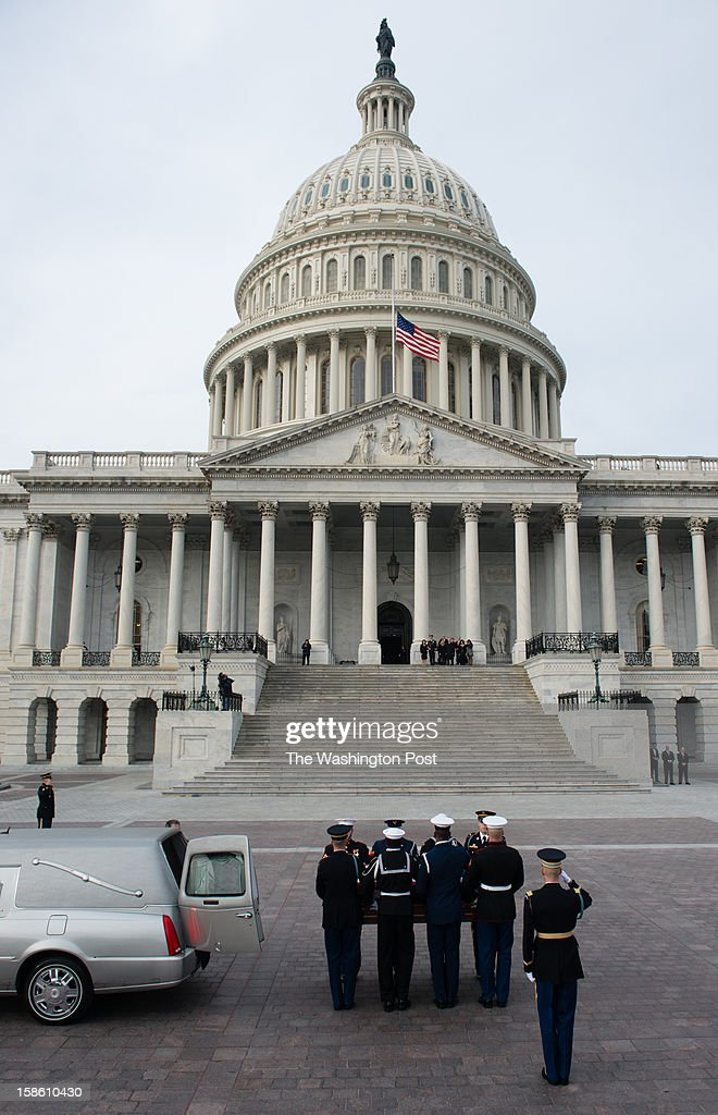Sen. Daniel Ken 'Dan' Inouye was a Medal of Honor recipient and a United States Senator from Hawaii, a member of the Democratic Party, and the President pro tempore of the United States Senate from 2010. He died Monday and will lie in state at the Capitol rotunda. His casket is pictured entering the capital.