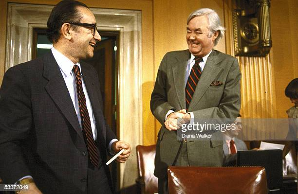 Sen Daniel Moynihan and Alan Greenspan at meeting of National Commission on social security reform