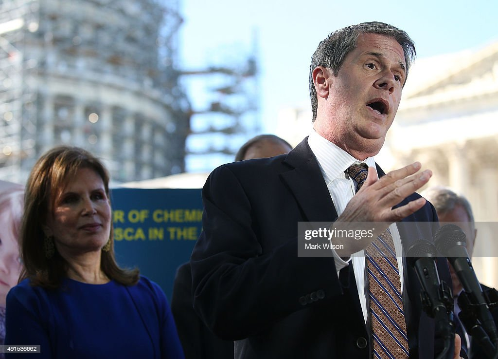 Sen. <a gi-track='captionPersonalityLinkClicked' href=/galleries/search?phrase=David+Vitter&family=editorial&specificpeople=506565 ng-click='$event.stopPropagation()'>David Vitter</a> (R-LA) speaks while flanked by Bonnie Lautenberg, widow of former Senator Frank Lautenberg (D-NJ), during a news conference on dangerous chemicals, on Capitol Hill October 6, 2015 in Washington, DC. Bonnie Lautenberg joined a bi partisan group of Senators to urge Congress into passing the Lautenberg Act to protect families from dangerous chemicals.