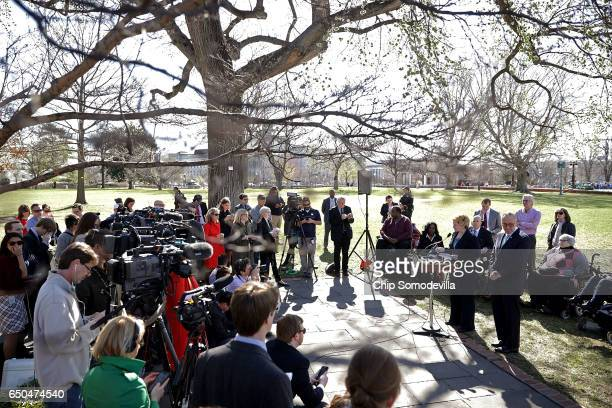 Sen Debbie Stabenow and Senate Minority Leader Charles Schumer are joined by people who may be negatively affected by the proposed American Health...