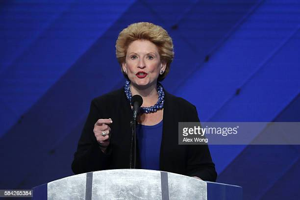 Sen Debbie Stabenow delivers remarks on the fourth day of the Democratic National Convention at the Wells Fargo Center July 28 2016 in Philadelphia...