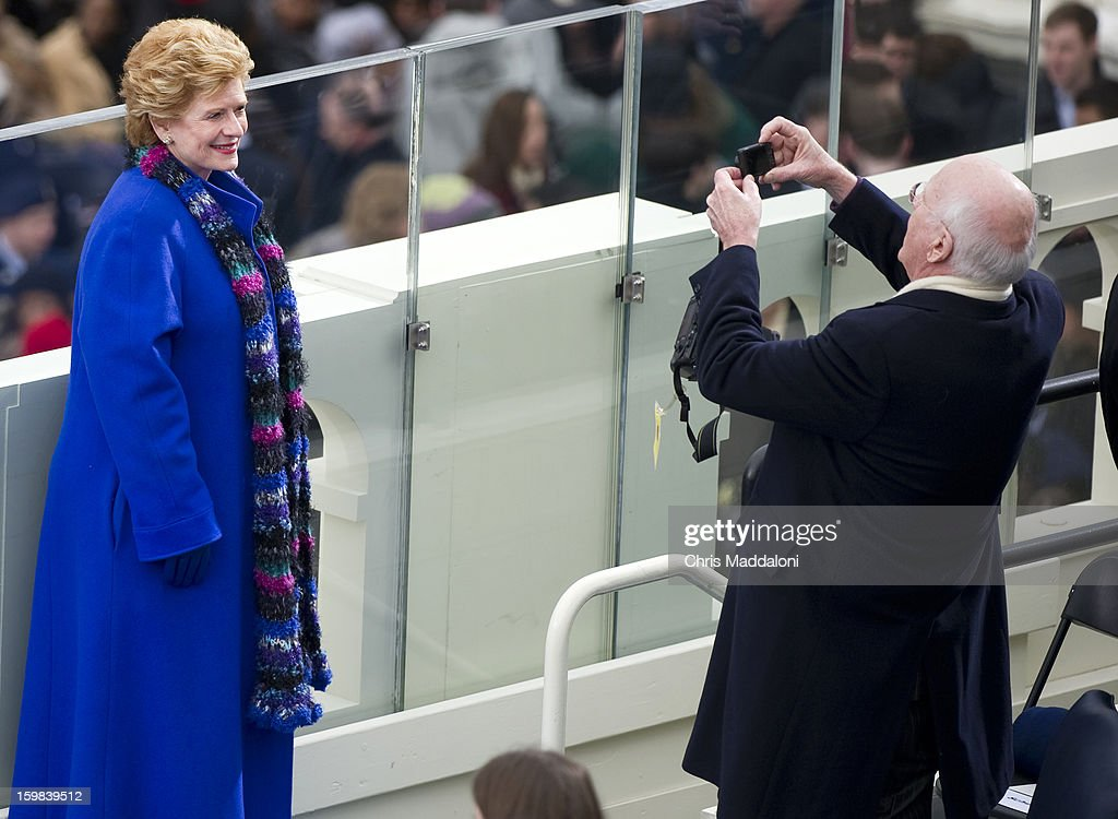 Sen. Debbie Stabenow, D-Mich., poses for a picture by Sen. Patrick Leahy, D-Vt., at the inauguration for U.S. President Barack Obama's second term of office. More than 600,000 people attended the event.