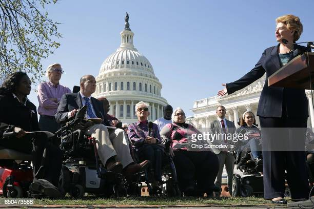 Sen Debbie Stabenow holds a news conference with people who may be negatively affected by the proposed American Health Care Act the Republicans'...