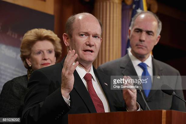 Sen Debbie Stabenow Sen Chris Coons and Sen Robert Casey hold a news conference following meetings between Republican presidential candidate Donald...