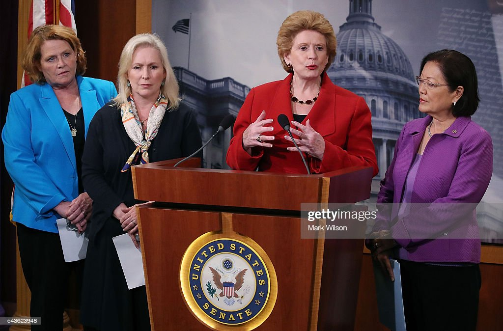 Sen. Debbie Stabenow (D-MI), speaks about the Senate's recent failed vote for funding to fight the Zika virus, on Capitol Hill June 29, 2016 in Washington, DC. Also pictured are Sen. Heidi Heitkamp (D-ND), (L), Sen. Kirsten Gillibrand (D-NY), (2nd-L), and Sen. Mazie Hirono (D-HI), (R).