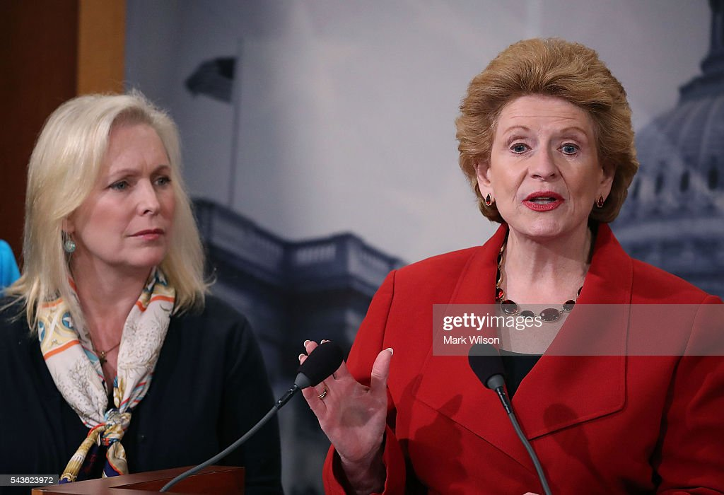 Sen. Debbie Stabenow (D-MI), (R), speaks about the Senate's recent failed vote for funding to fight the Zika virus, on Capitol Hill June 29, 2016 in Washington, DC. Also pictured is Sen. Kirsten Gillibrand (D-NY).