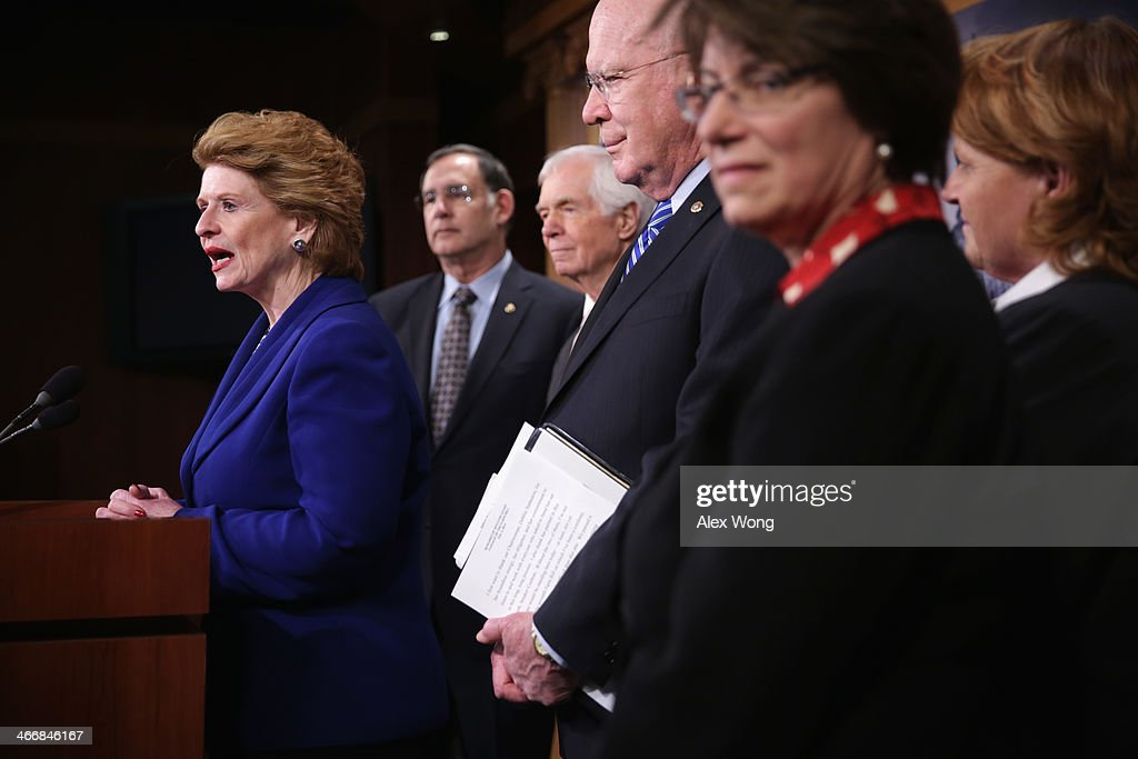 US Sen Debbie Stabenow speaks as Sen John Boozman Sen Thad Cochran Sen Patrick Leahy Sen Amy Klobuchar and Sen Heidi Heitkamp listen during a news...