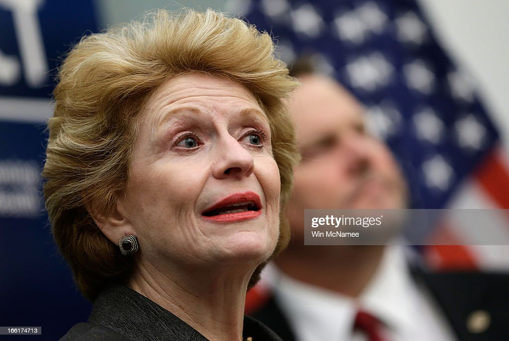 S Sen Debbie Stabenow speaks during a press conference calling for passage of mental health legislation as part of a gun safety package with US Sen...