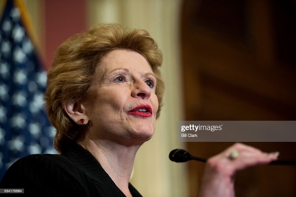 Sen. Debbie Stabenow (D-MI) speaks during the Senate Democrats' news conference in the Capitol on Wednesday, May 25, 2016, to demand that the full Congress immediately pass emergency funding to combat the spread of the Zika virus in the United States.