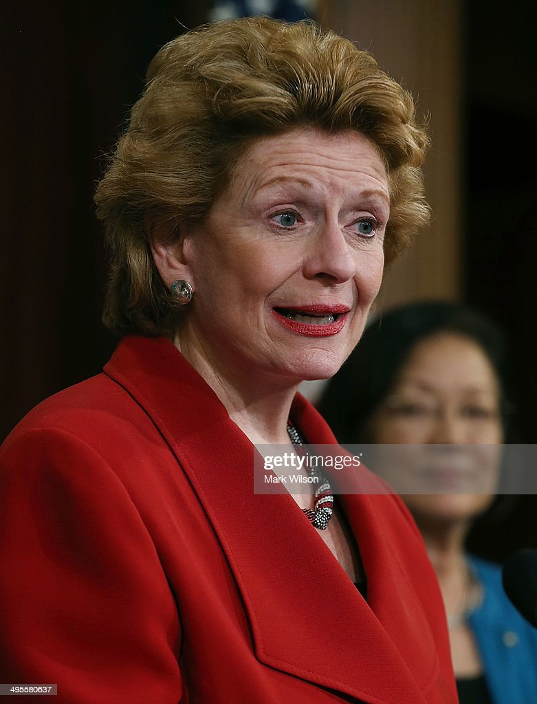 Sen Debbie Stabenow speaks student loans for women during a news conference on Capitol Hill June 4 2014 in Washington DC Democratic women Senators...