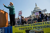 Sen Debbie Stabenow speaks to a crowd gathered on the West Front of the US Capitol building for a rally with Teamsters Union retirees who traveled...
