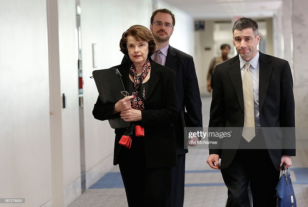 Sen. <a gi-track='captionPersonalityLinkClicked' href=/galleries/search?phrase=Dianne+Feinstein&family=editorial&specificpeople=214078 ng-click='$event.stopPropagation()'>Dianne Feinstein</a> (D-CA), chairman of the Senate Select Committee on Intelligence, arrives for a briefing by members of the U.S. intelligence community April 23, 2013 in Washington, DC. Later in the day, House members were scheduled to be briefed on developments in the Boston Marathon bombing investigation.