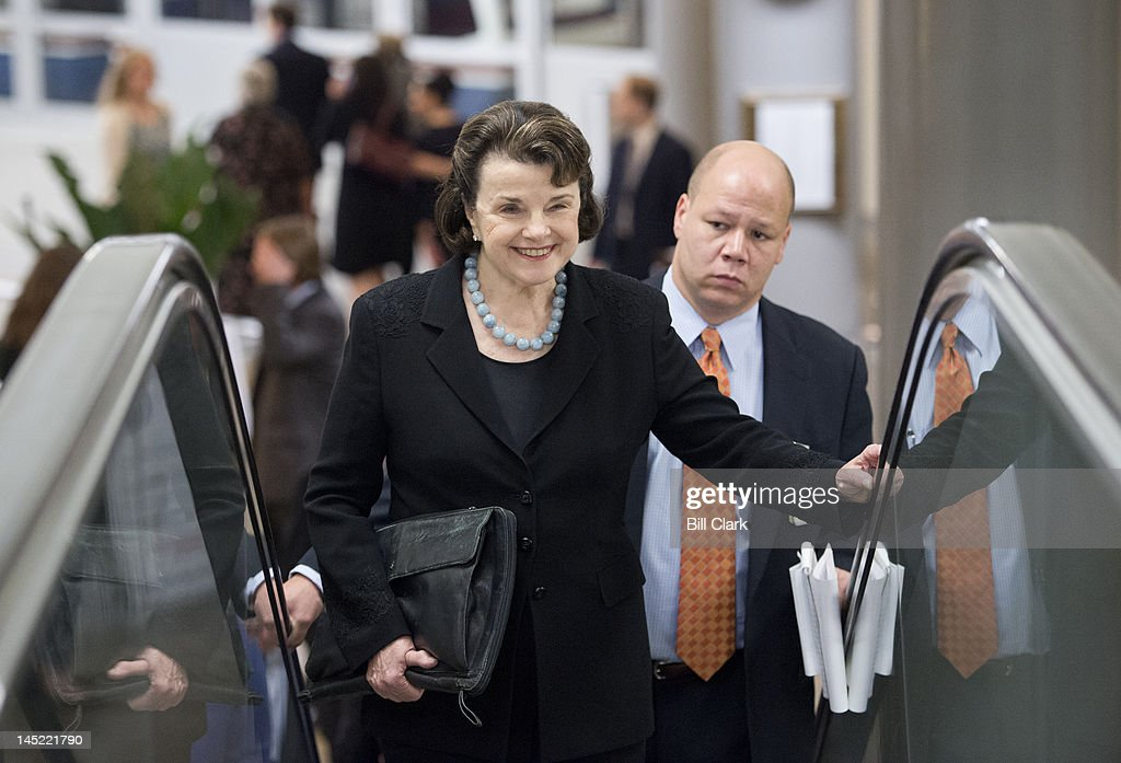 Sen. Dianne Feinstein, D-Calif., arrives in the Capitol via the Senate subway for votes on the Food and Drug Administration reauthorization bill on Thursday, May 24, 2012.