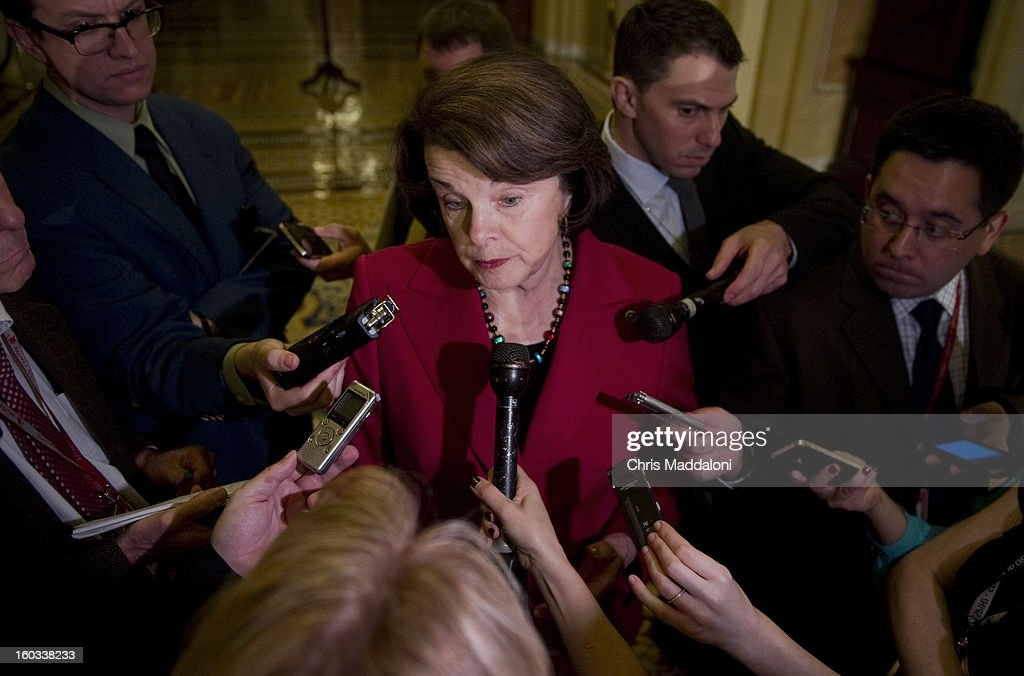 Sen. Dianne Feinstein, D-Calif., speaks to the press at the weekly Senate luncheons. She has introduced a bill with a gun ban list that would prohibit the use of 157 specific weapons and ammunition magazines that have more than 10 rounds.