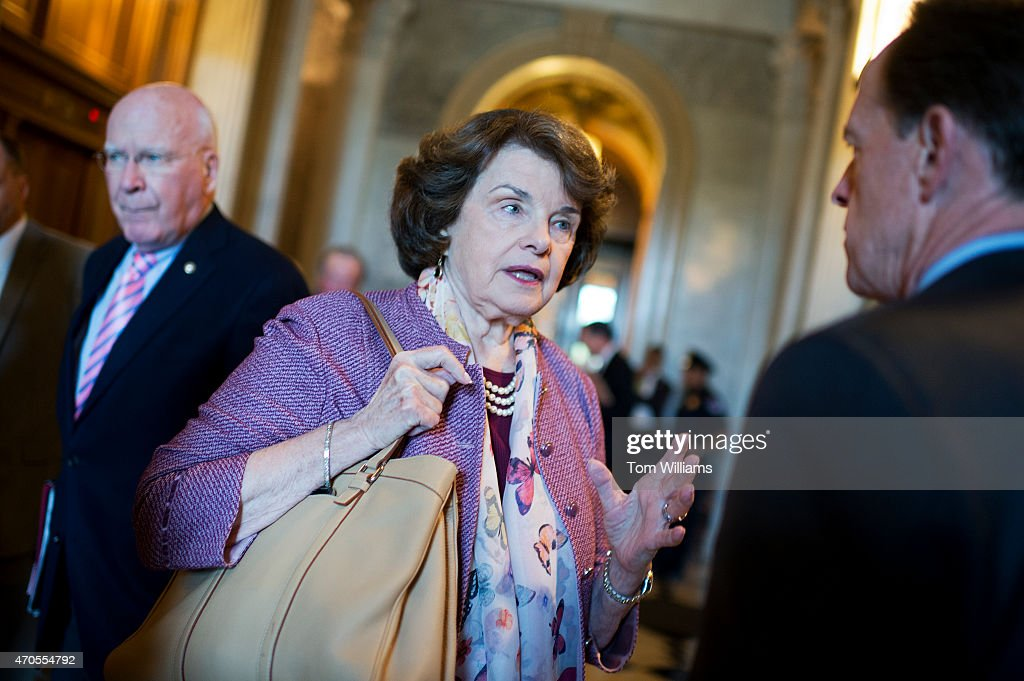 Sen. <a gi-track='captionPersonalityLinkClicked' href=/galleries/search?phrase=Dianne+Feinstein&family=editorial&specificpeople=214078 ng-click='$event.stopPropagation()'>Dianne Feinstein</a>, D-Calif., talks with Sen. <a gi-track='captionPersonalityLinkClicked' href=/galleries/search?phrase=Pat+Toomey&family=editorial&specificpeople=3370648 ng-click='$event.stopPropagation()'>Pat Toomey</a>, R-Pa., before the senate policy luncheons in the Capitol, April 21, 2015.