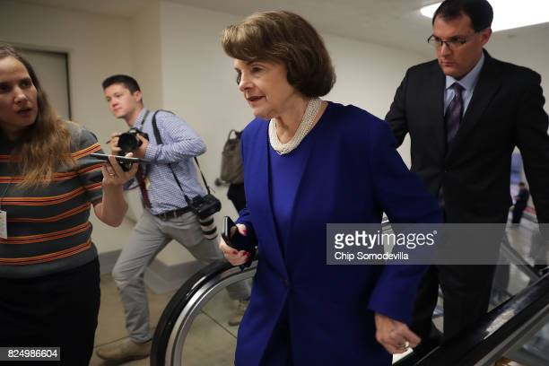 Sen Dianne Feinstein is pursued by reporters as she heads to the US Capitol for a vote July 31 2017 in Washington DC Senate GOP leadership was unable...