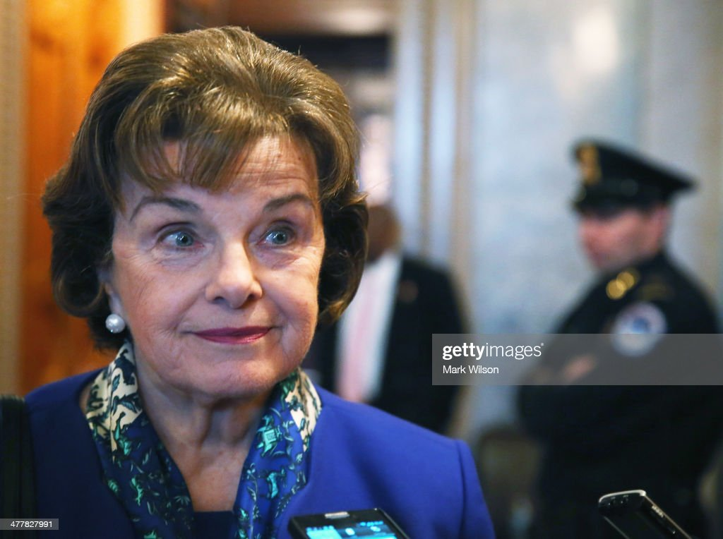 U.S. Sen. <a gi-track='captionPersonalityLinkClicked' href=/galleries/search?phrase=Dianne+Feinstein&family=editorial&specificpeople=214078 ng-click='$event.stopPropagation()'>Dianne Feinstein</a> (D-CA) speaks to reporters after finishing a speech on the Senate floor, on March 11, 2014 in Washington, DC. Feinstein who is Chairman of the Senate Intelligence Committee has accused the CIA of secretly removing documents from computers used by the committee.