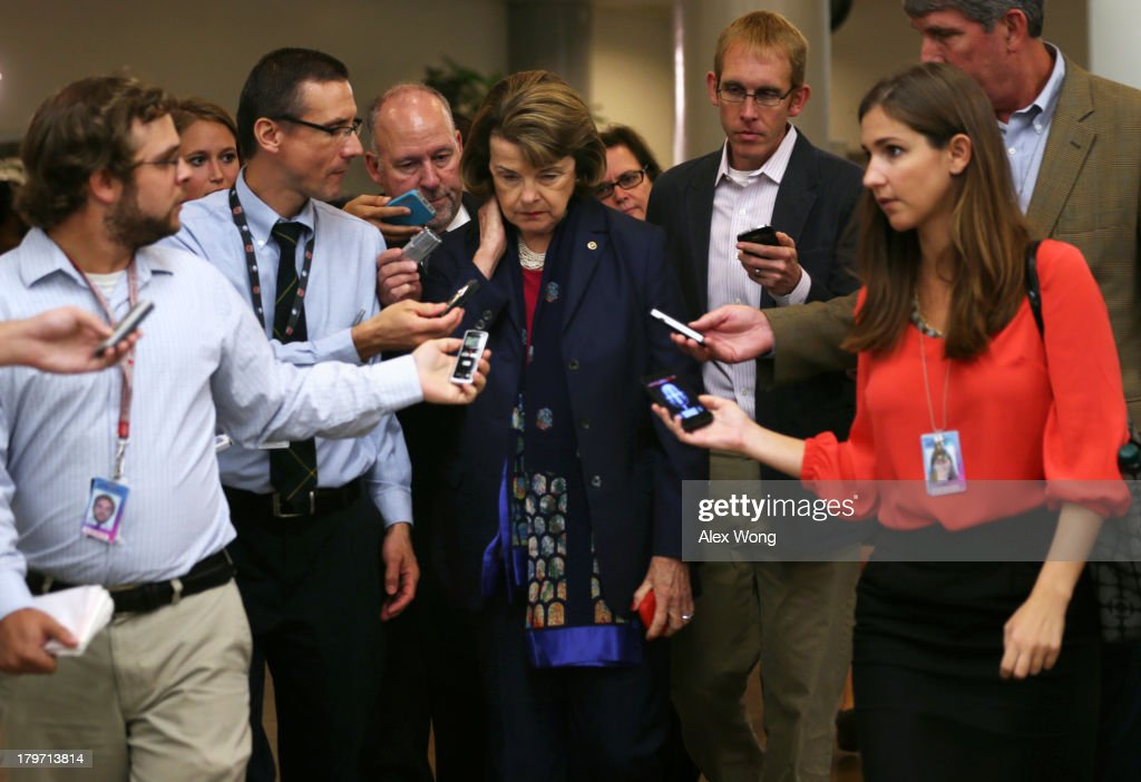 U.S. Sen. Dianne Feinstein (D-CA) (C) talks to members of the media after a members-only closed briefing on Syria for the U.S. Senate and the House of Representatives September 6, 2013 on Capitol Hill in Washington, DC. U.S. President Barack Obama will address the American people on Syria from the White House on Tuesday.