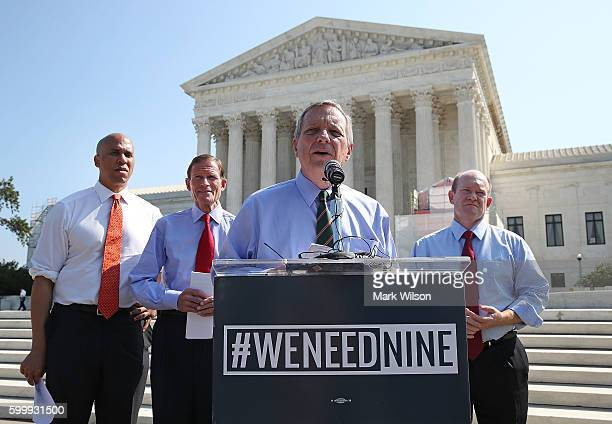 Sen Dick Durbin calls for Senate Judiciary conformation hearings for Supreme Court nominee Merrick Garland during a news conference news conference...