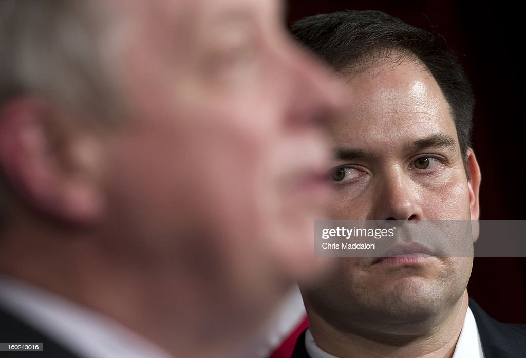 Sen. Dick Durbin, D-Ill.; and Sen. Marco Rubio, R-Fl.; speak a news conference to announce bi-partisan agreement on the principals on a comprehensive immigration reform bill.