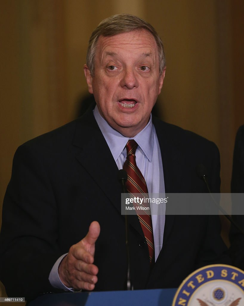 Sen Dick Durbin speaks to the media during a news conference at the US Capitol April 14 2015 on Capitol Hill in Washington DC Both Senate Democrats...