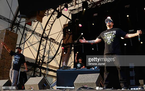 Sen Dog and BReal of Cypress Hill perform live on the Main Stage during day one of Lovebox Festival 2015 at Victoria Park on July 17 2015 in London...