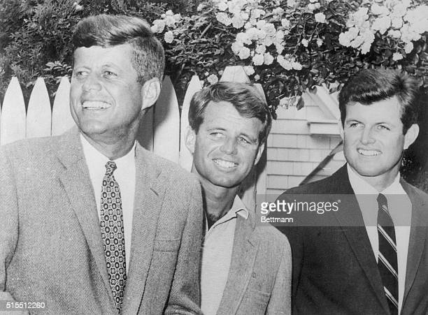 Sen Edward Kennedy and his brothers John Kennedy and Robert Kennedy are shown at Hyannisport Massachusetts Being the complete politician is something...
