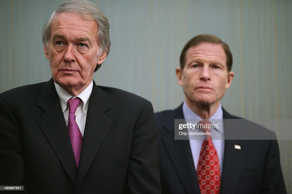 Sen. <a gi-track='captionPersonalityLinkClicked' href=/galleries/search?phrase=Edward+Markey&family=editorial&specificpeople=630856 ng-click='$event.stopPropagation()'>Edward Markey</a> (D-MA) (L) and Sen. <a gi-track='captionPersonalityLinkClicked' href=/galleries/search?phrase=Richard+Blumenthal&family=editorial&specificpeople=1036916 ng-click='$event.stopPropagation()'>Richard Blumenthal</a> (D-CT) hold a news conference to highlight the benefits of raising the national minimum wage at the U.S. Capitol March 27, 2014 in Washington, DC. Senators were joined by small business owners who already pay more than the minimum wage and say it has improved their profits, employee retention and other aspects of busniess.
