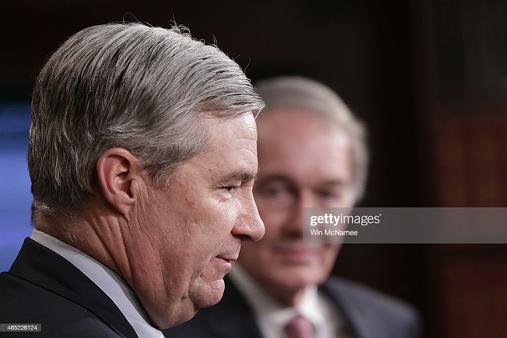 Sen. Edward Markey (L) (D-MA) and Sen. Sheldon Whitehouse (R) (D-RI) discuss the Senate vote attempting to override U.S. President Barack Obama's veto of the Keystone XL Pipeline legislation March 4, 2015 in Washington, DC. The Senate vote on overriding the veto failed to pass by the necessary two thirds majority by a count of 62-37.