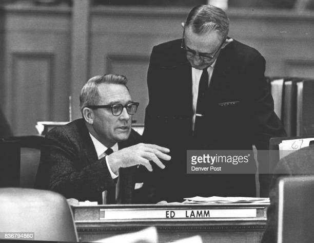 Sen Edwin S Lamm RGrand Junction At Desk He confers with Sen Raymond Braiden RLa Jara Credit Denver Post