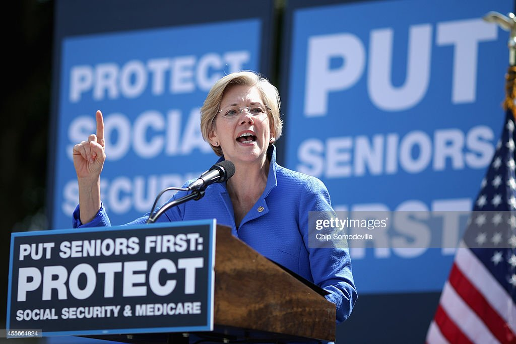 Sen. <a gi-track='captionPersonalityLinkClicked' href=/galleries/search?phrase=Elizabeth+Warren&family=editorial&specificpeople=5396017 ng-click='$event.stopPropagation()'>Elizabeth Warren</a> (D-MA) addresses a rally in support of Social Security and Medicare on Capitol Hill September 18, 2014 in Washington, DC. The rally was organized by American United for Change, a liberal advocacy group founded to fight the privitization of Social Security.