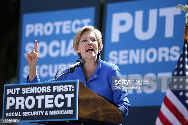 Sen Elizabeth Warren addresses a rally in support of Social Security and Medicare on Capitol Hill September 18 2014 in Washington DC The rally was...