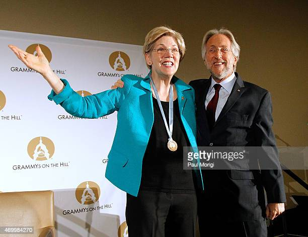 Sen Elizabeth Warren and Recording Academy President and CEO Neil Portnow speak at the kickoff of GRAMMYs on the Hill Advocacy Day 2015 on Capitol...