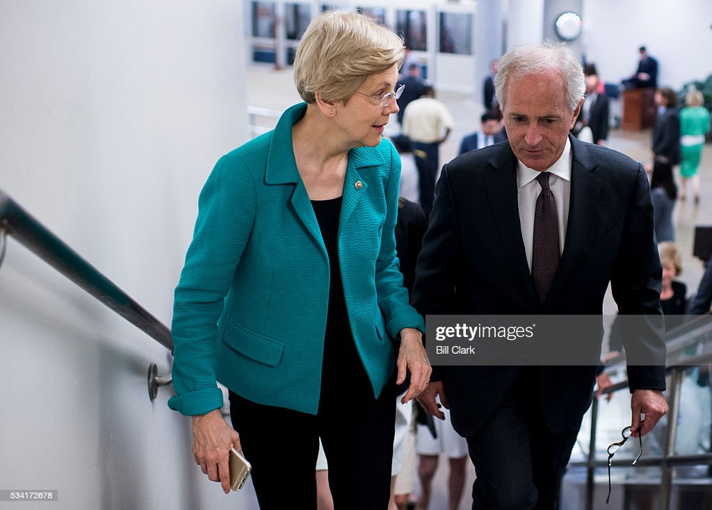 Sen. Elizabeth Warren (D-MA) and Sen. Bob Corker (R-TN) talk as they arrive for votes in the Capitol on Wednesday, May 25, 2016.