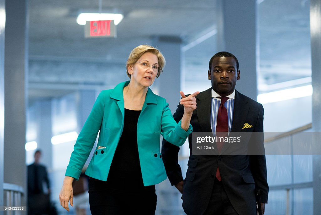 Sen. Elizabeth Warren (D-MA) arrives in the Capitol for the on Tuesday, June 28, 2016.