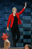Sen Elizabeth Warren arrives onstage on the first day of the Democratic National Convention at the Wells Fargo Center July 25 2016 in Philadelphia...