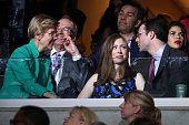 Sen Elizabeth Warren Chelsea Clinton and husband Marc Mezvinsky speak during the evening session of the second day of the Democratic National...