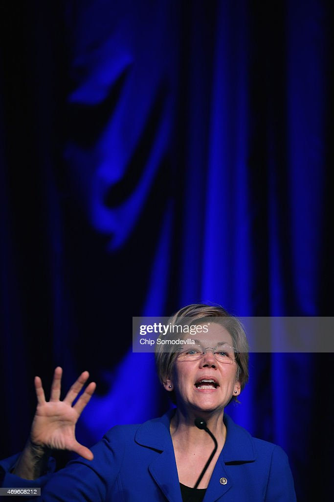 Sen. Elizabeth Warren (D-MA) delivers remarks during the Good Jobs Green Jobs National Conference at the Washington Hilton April 13, 2015 in Washington, DC. Sponsored by a varied coalition including lightweight metals producer Alcoa, the United Steelworks union, the Sierra Club and various other labor, industry and telecommunications leaders, the conference promotes the use of efficient and renewable energy and cooperation in updating the country's energy infrastructure.