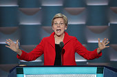 Sen Elizabeth Warren delivers remarks on the first day of the Democratic National Convention at the Wells Fargo Center July 25 2016 in Philadelphia...