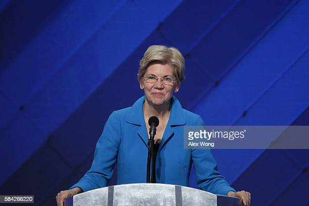 Sen Elizabeth Warren delivers remarks on the fourth day of the Democratic National Convention at the Wells Fargo Center July 28 2016 in Philadelphia...