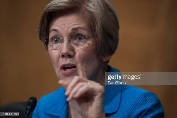 Sen Elizabeth Warren DMass attends a Senate Banking Housing and Urban Affairs Committee hearing titled 'The Semiannual Monetary Policy Report to...