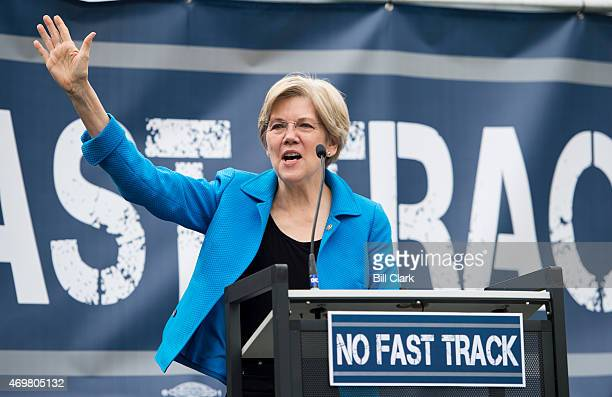 Sen Elizabeth Warren DMass speaks during the United Steelworkers rally in opposition to the proposed 'Fast Track' bill or Trade Promotion Authority...