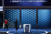 Sen Elizabeth Warren gestures after being introduced by Rep Joseph P Kennedy III on the first day of the Democratic National Convention at the Wells...
