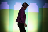 Sen Elizabeth Warren leaves the stage after an interview during the seventh annual Washington Ideas Forum at the Harman Center for the Arts October 1...