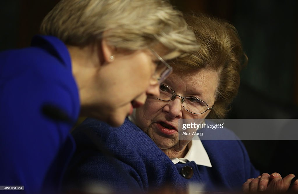 U.S. Sen. <a gi-track='captionPersonalityLinkClicked' href=/galleries/search?phrase=Elizabeth+Warren&family=editorial&specificpeople=5396017 ng-click='$event.stopPropagation()'>Elizabeth Warren</a> (D-MA) (L) listens to Sen. <a gi-track='captionPersonalityLinkClicked' href=/galleries/search?phrase=Barbara+Mikulski&family=editorial&specificpeople=226768 ng-click='$event.stopPropagation()'>Barbara Mikulski</a> (D-MD) (R) during a hearing before Senate Health, Education, Labor and Pensions Committee February 10, 2015 on Capitol Hill in Washington, DC. The committee held a hearing on 'The Reemergence of Vaccine-Preventable Diseases: Exploring the Public Health Successes and Challenges.'